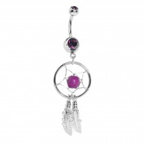 316L Steel Crystal Dream catcher Chain Dangle Navel Belly Button Ring PURPLE