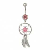 316L Steel Crystal Dream catcher Chain Dangle Navel Belly Button Ring Pink