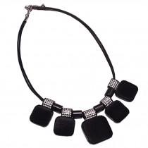 Retro Fashion Choker Necklace Pendant Choker Necklace Black Suede Pendant