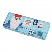 Combination Lock Plastic Students Stationery Pencil Box Pencil Case, Blue