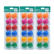 36 PCS Officemate Magnets, Assorted Sizes and Colors,12 per Pack 30mm