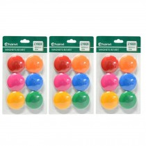 18 PCS Officemate Magnets, Assorted Sizes and Colors,6 per Pack 40mm