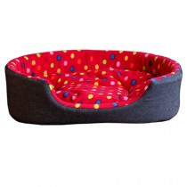 Detachable House Pet Mat Stylish Rectangle Pet Bed Pet House Kennel Dots Red