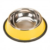 Stainless Steel Outdoors/Travel Cat Food Bowl Dog Bowl Feeding Tray, Yellow