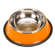 Stainless Steel Cat Food Bowl Pet Bowl Feeding Tray Dog Bowl, Orange