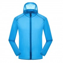 Windproof Super Lightweight Jackets UV Protector Quick Dry  Skin Coat,Blue