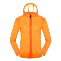 Quick Dry Windproof Skin Coat Super Lightweight UV Protector Jackets,Orange