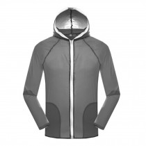 Windproof Sports Jacket UV Protector outerwear Quick Dry  Skin Coat, Gray