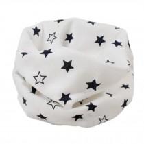 Kids Cute Warm Infinity Scarf Neck Scarves Loop Scarfs, Stars/White