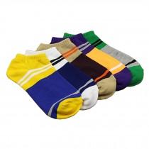 Men's Five Pairs of Low-Cut Pure Cotton Socks, stripe