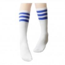 2 Pairs Unisex Soccer/Basketball Athletic Socks Blue Stripes White