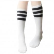 2 Pairs Unisex Black Stripes Soccer/Basketball Socks For Boy/Girl, White