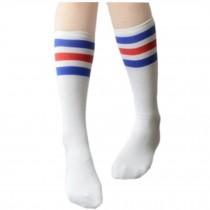 Set Of 2 Color Stripes Soccer/Basketball Athletic Socks For Unisex Child, White