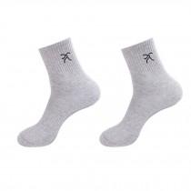 Men's Cotton Mid-calf Length Athletic Socks Gray 2 Pairs