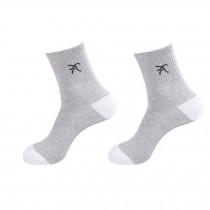Men's Men Running Casual Socks 2 Pairs White Gray