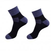 Set of 2 Pairs Cotton Black Blue Men's  Mid-calf Length Athletic Slipper Socks