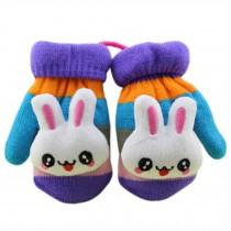 1 Pair Children's Winter Gloves Soft knitted&Warm Mittens (0-3 Years)Purple
