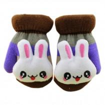 1 Pair Children's Winter Gloves Soft knitted&Warm Mittens (0-3 Years)Brown