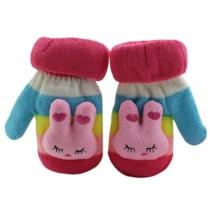 1 Pair Children's Winter Gloves Soft knitted&Warm Mittens (0-2 Years) Pink
