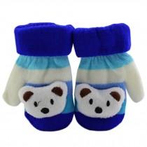 1 Pair Children's Winter Gloves Soft knitted&Warm Mittens (0-2 Years) Blue