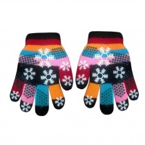 1 Pair Kids' Winter Gloves Double Layer Mittens (2-5 Years) Snowflake Black