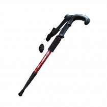 Outdoor Ultralight Hiking Stick Adjustable T-shaped Trekking Poles ,Red