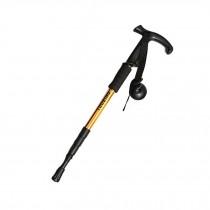 Outdoor Ultralight Hiking Walking Stick Adjustable T-shaped Trekking Poles ,Gold