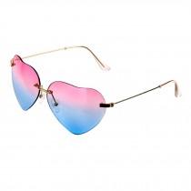 Fashion women heart shaped  Style Metal Frame Sunglasses Eyewear,Pink and Blue