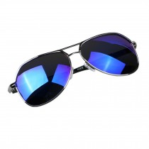 Classic Aviator Style Sunglasses Metal Frame Colored Lens UV Protection,Blue