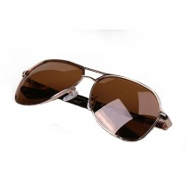 Classic Aviator Style Sunglasses Metal Frame Colored Lens UV Protection,Brown
