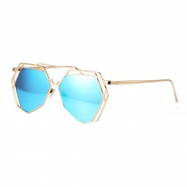 Modern Polygon Fashion Full Metal Flash Mirror Lens Sunglasses, Blue