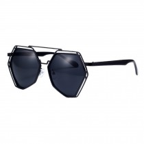 Unique Style Mirrored Lens Polygon Metal Frame Sunglasses Eyewear, Black