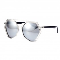 Unique Style Eyewear Mirrored Lens Polygon Metal Frame Sunglasses, Silvery
