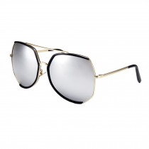 Women's Oversize Unique Style Flash Mirror Lens Sunglasses Eyewear, Silvery