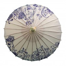 Chinese/Japanese Style Paper Umbrella Parasol 33-Inch blue-and-white