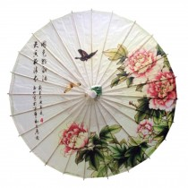 Chinese/Japanese Style Peony Flowers Paper Umbrella Parasol 33-Inch