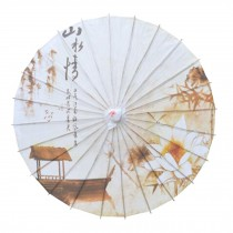 Chinese/Japanese Style Paper Umbrella Parasol 33-Inch Landscape