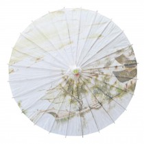 Chinese/Japanese Style Paper Umbrella Parasol 33-Inch Watery Region