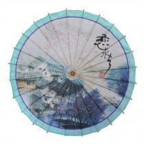Chinese/Japanese Style Paper Umbrella Parasol 33-Inch Watery Region Blue