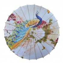 Chinese/Japanese Style Paper Umbrella Parasol 33-Inch Peacock