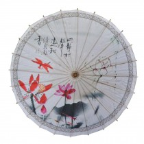 Chinese/Japanese Style Paper Umbrella Parasol 33-Inch Dragonflies & Lotus