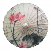 Chinese/Japanese Style Paper Umbrella Parasol 33-Inch Red Lotus