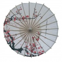 Chinese/Japanese Style Paper Umbrella Parasol 33-Inch Plum in Snow