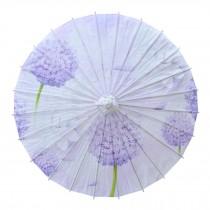 Chinese/Japanese Style Paper Umbrella Parasol 33-Inch Purple Dandelion