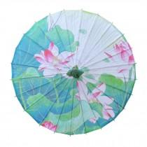 Chinese/Japanese Style Paper Umbrella Parasol 33-Inch Summer Lotus