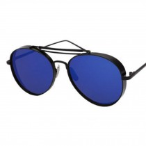 Thicken Color Film Reflective Large Frame Sunglasses For Drinving   Deep Blue