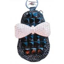 Bow Car Key Holder Decorative Lovely Key Chain Sets Zero Wallet Pendant,Black