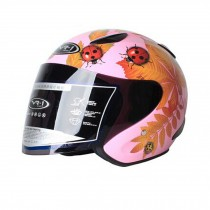 "Gloss Pink Beatle Motorcycle Helmet Street Bike Open Face Helmet (L,22""-23 1/5"")"