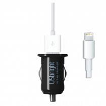 Universal Auto Charger--Noctilucent Dual USB Car Charger (I5/5s Cable Included)