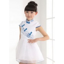 Beautiful Baby Chinese Cheongsam Dress Lovely Lace Girl Dress White & Blue